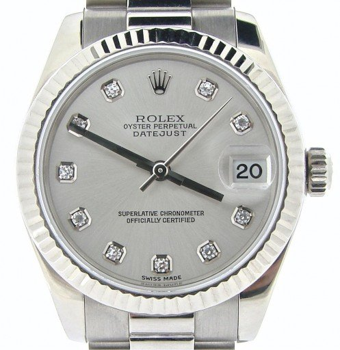 Rolex White Gold Datejust President Diamond 178279 Silver-1