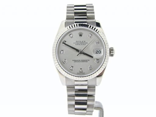 Rolex White Gold Datejust President Diamond 178279 Silver-5