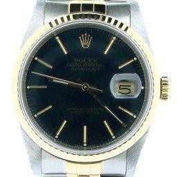 Mens Rolex Two-Tone 18K/SS Datejust Black  16233 (SKU R788875NBCMT)