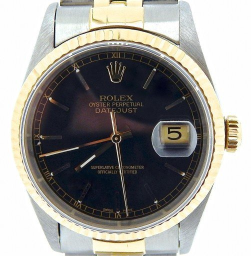 Rolex Two-Tone Datejust 16233 Black -1