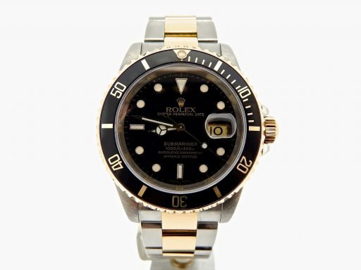 Rolex Two-Tone Submariner 16613 Black -8