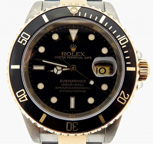 Rolex Two-Tone Submariner 16613 Black -1
