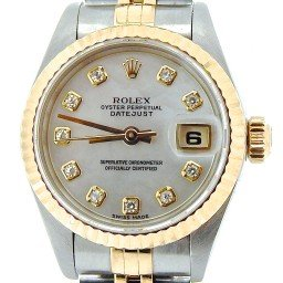 Ladies Rolex Two-Tone 18K/SS Datejust White MOP Diamond 69173