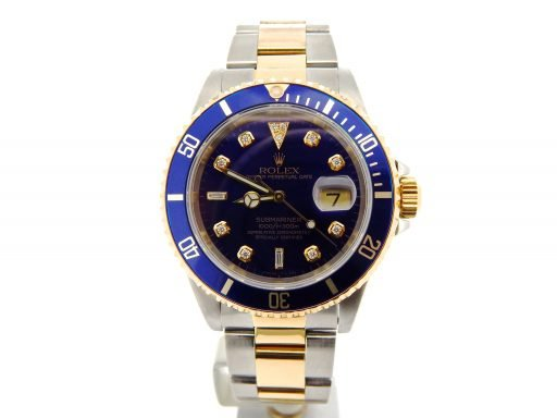 Rolex Two-Tone Submariner 16613 Blue Diamond-6