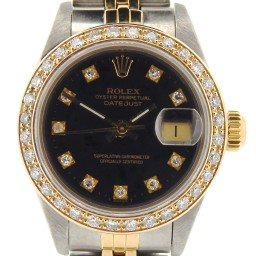 Ladies Rolex Two-Tone 18K/SS Datejust Black Diamond 69173 (SKU 9283674DNMT)