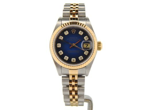 Rolex Two-Tone Datejust 79173 Blue Vignette Diamond-7