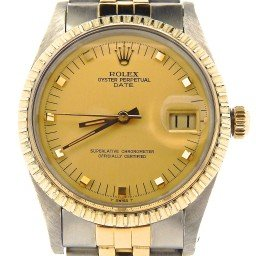 Pre Owned Mens Rolex Two-Tone Date with a Gold Champagne Dial 15053