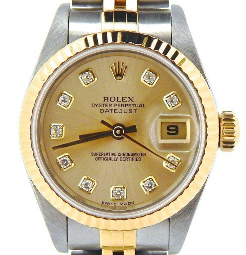 Rolex Two-Tone Datejust 69173 Champagne Diamond-1