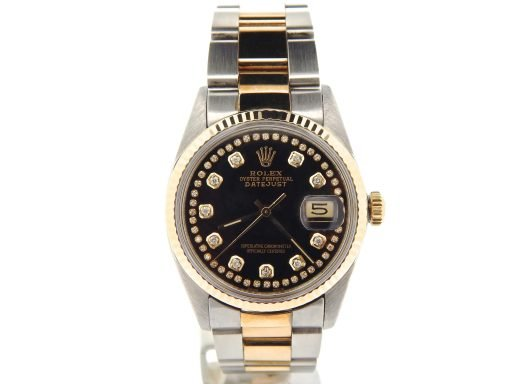 Rolex Two-Tone Datejust 16013 Black Diamond-6