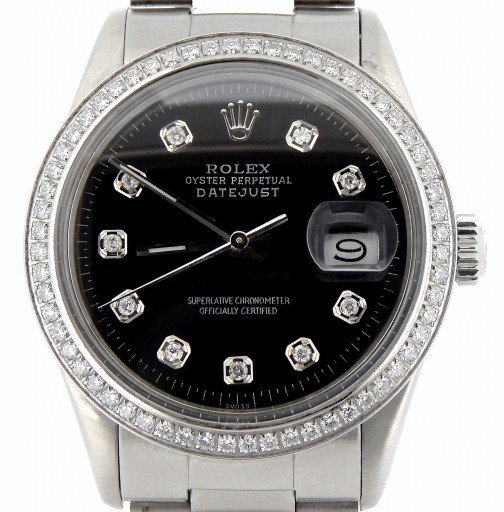 Rolex Stainless Steel Datejust 16030 Black Diamond-1
