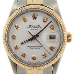 Mens Rolex Two-Tone 14K/SS Date White Diamond 15053