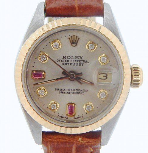 Rolex Two-Tone Datejust 6917 Silver Diamond & Ruby-1
