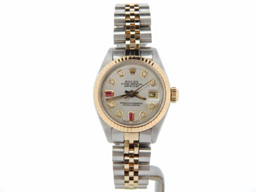Rolex Two-Tone Datejust 6917 Silver Diamond Ruby-5