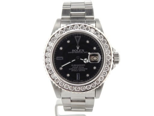 Rolex Stainless Steel Submariner 16610 Black Diamond-6
