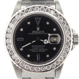 Mens Rolex Stainless Steel Submariner Black Diamond 16610 (SKU 8445837NNBCMT)