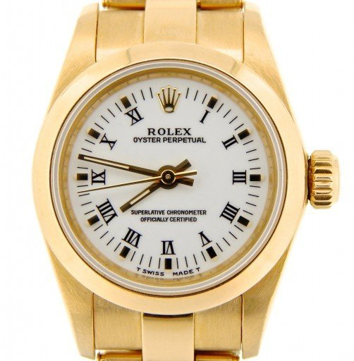 Rolex 18K Yellow Gold Oyster Perpetual 67188 White Roman-1