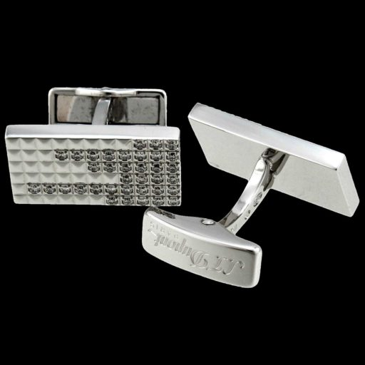 S.T._Dupont_18K_Solid_White_Gold_Cufflinks,_1.08K_Brilliant_Cut_Diamonds_1