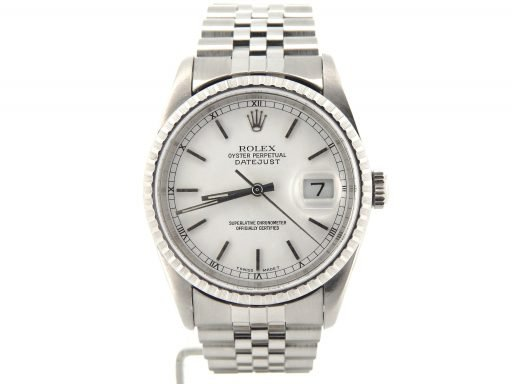 Rolex Stainless Steel Datejust 16220 White -5
