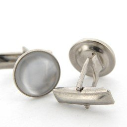 GENUINE STAINLESS STEEL SILVER ENAMEL CUFFLINK SET (SKU BTCL006N)