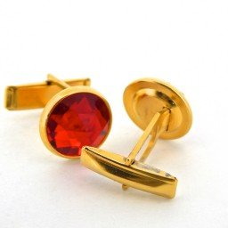 GENUINE  GOLD TONE RED CRYSTAL 2-PIECE CUFFLINK SET