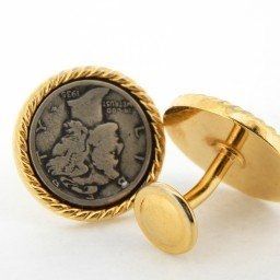 GENUINE GOLD TONE 1930s SILVER COIN CUFFLINK SET (SKU BTCL008N)