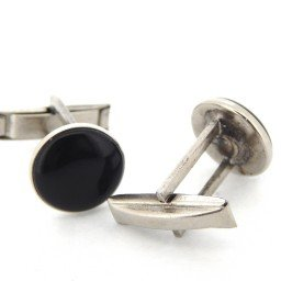 STAINLESS STEEL BLACK ENAMEL CUFFLINK SET