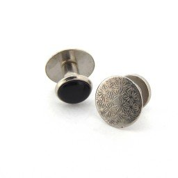 Stainless Steel 5-Piece Black Enamel Button Set