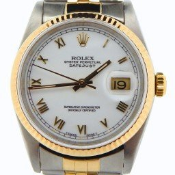 Mens Rolex Two-Tone 18K/SS Datejust White Roman 16233 (SKU X326855NBCMT)