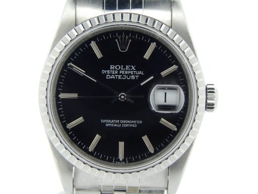 Rolex Stainless Steel Datejust 16220 Black -1