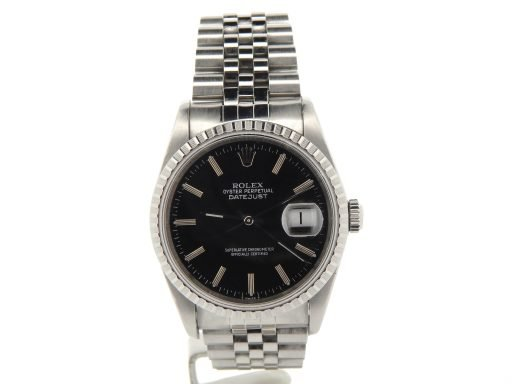 Rolex Stainless Steel Datejust 16220 Black -8