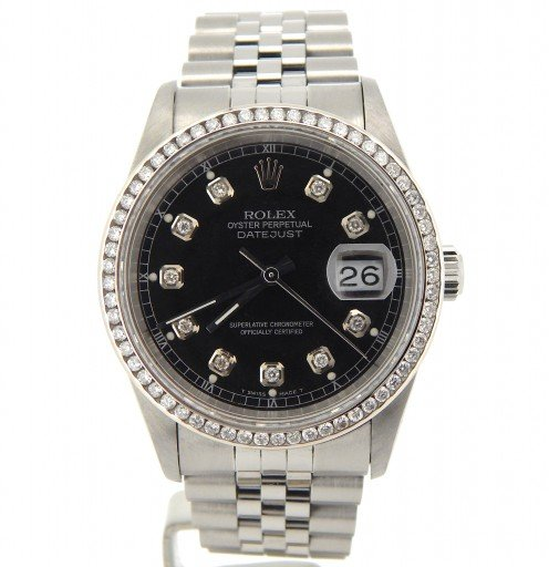 Rolex Stainless Steel Datejust 16220 Black Diamond-6