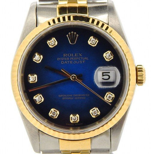 Rolex Two-Tone Datejust 16233 Blue Diamond-1