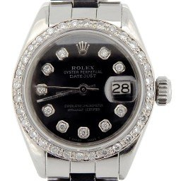 Ladies Rolex Stainless Steel Datejust Black Diamond (SKU 3951302NMT)