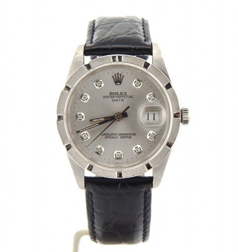 Rolex Stainless Steel Date 15210 Silver Diamond-7