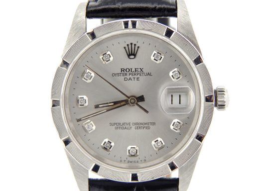 Rolex Stainless Steel Date 15210 Silver Diamond-1