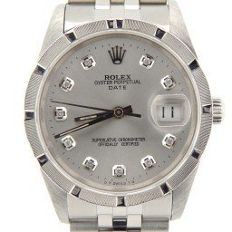 Mens Rolex Stainless Steel Date Silver Diamond 15210