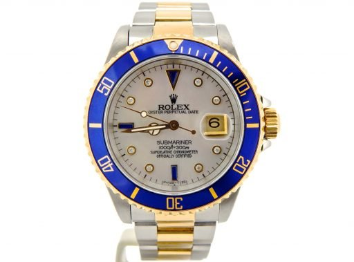 Rolex Two-Tone Submariner 16803 White MOP Diamond-7