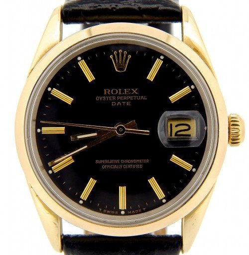Rolex Gold Shell Date 15505 Black-1