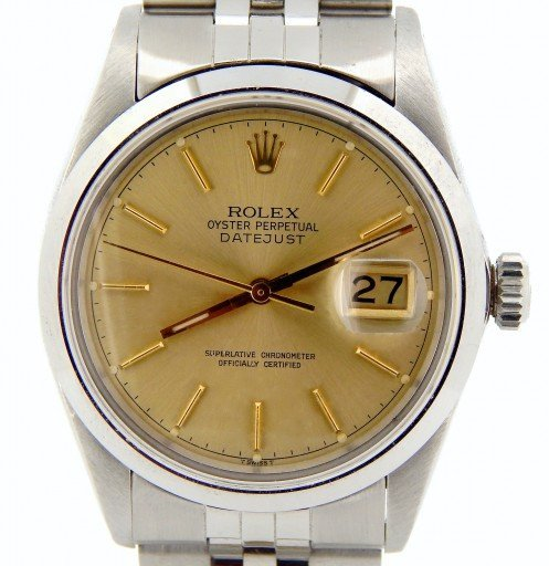 Rolex Stainless Steel Datejust 16030 Champagne -1