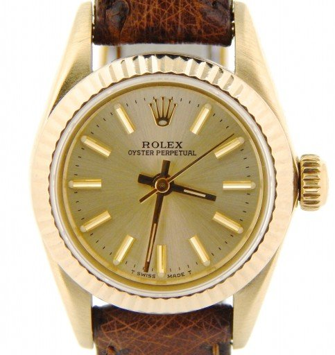 Rolex 14K Yellow Gold Oyster Perpetual 67197 Champagne -1