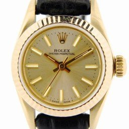 Ladies Rolex 14K Yellow Gold Oyster Perpetual Champagne  67197 (SKU 9039078NBLKCMT)