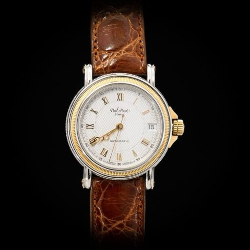 Paul_Picot_Geneve_Atelier_Classic_Stainless_Steel_18K_Yellow_Gold_Automatic_Date_33mm_Case_Brown_Strap_1