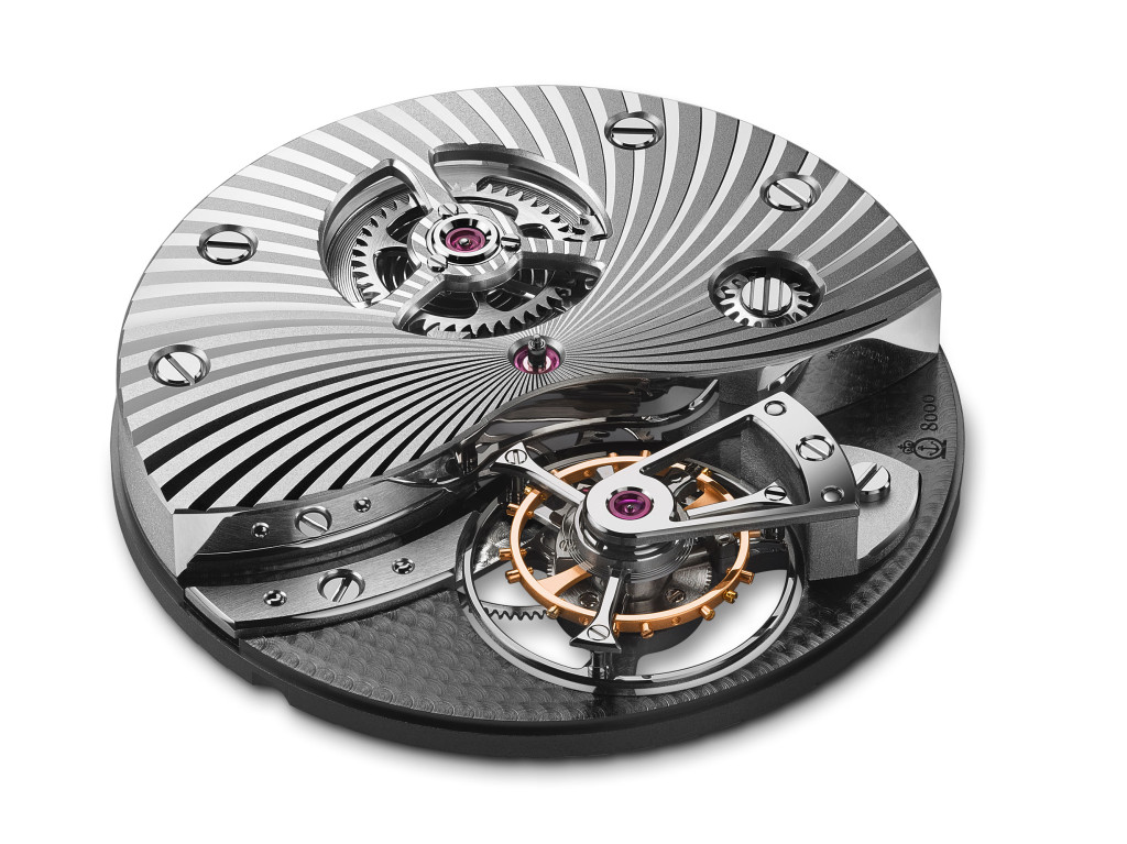 A&S8000 Exclusive Arnold & Son tourbillon movement A&S8000, hand-wound, 32.6mm wide, 6.25mm thick, 80hr power reserve, 21,600 vibrations/hr.