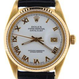 Pre Owned Mens Rolex Yellow Gold Datejust with a White Roman Dial 16018 (SKU 7412517NBLKBCDM)