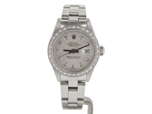 Rolex Stainless Steel Datejust 69174 Silver Diamond-6
