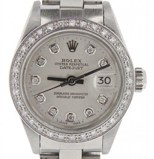 Rolex Stainless Steel Datejust 69174 Silver Diamond-1