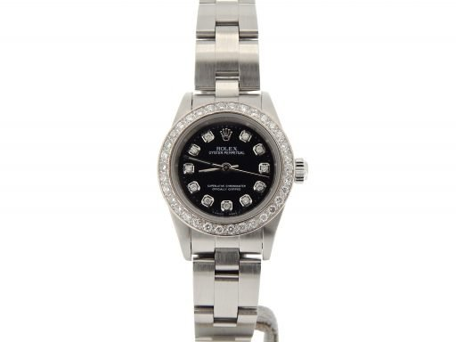 Rolex Stainless Steel Oyster Perpetual 76080 Black Diamond-7