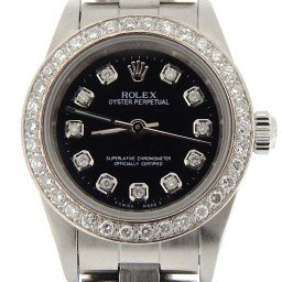 Ladies Rolex Stainless Steel Oyster Perpetual Black Diamond 76080 (SKU D238467NNCMT)