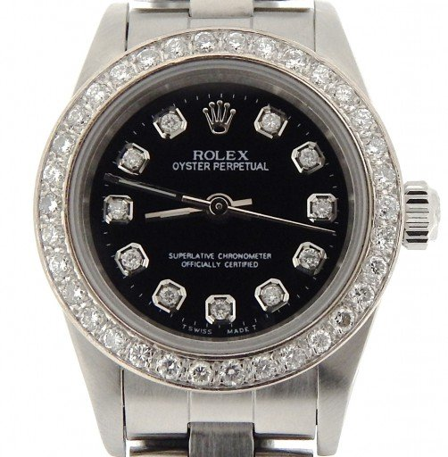 Rolex Stainless Steel Oyster Perpetual 76080 Black Diamond-1