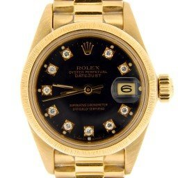Ladies Rolex 18K Yellow Gold Datejust President Black Diamond 6917 (SKU 6520535NMT)